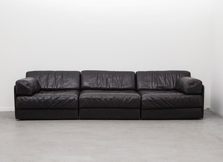 SOLD De Sede DS 76 Black Leather Sofa Switzerland 70s