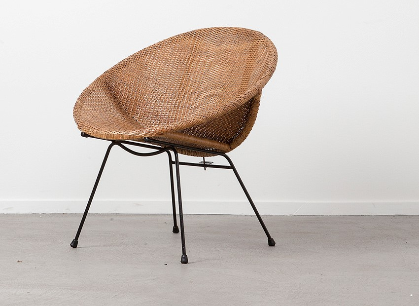 SOLD Dutch 50s Rattan Easy Chair