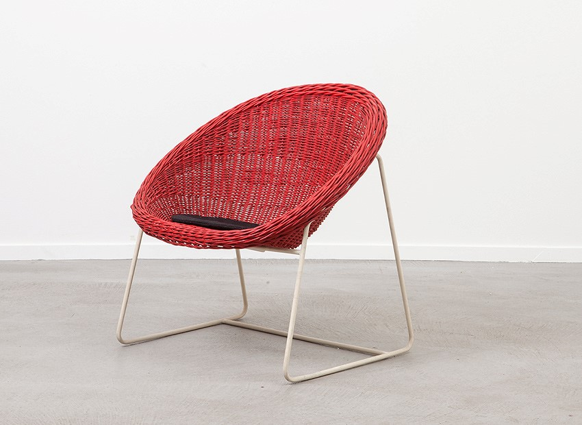 SOLD Dutch 50s Red Rattan Easy Chair