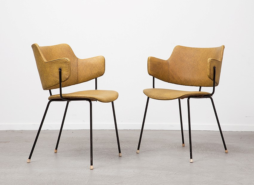 SOLD W.H. Gispen 2 X Armchairs Kembo 50s