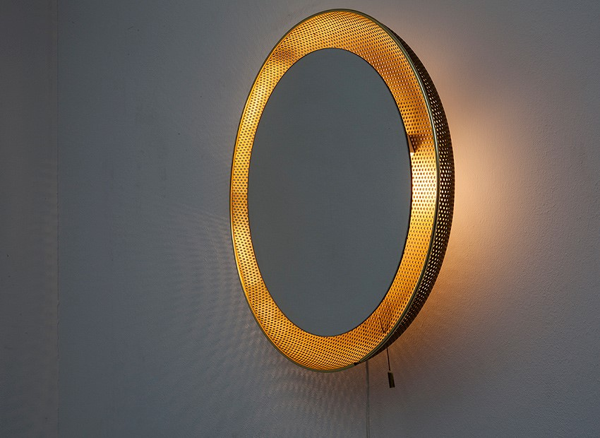 SOLD Mathieu Mategot Attr. Mirror Wall Lamp Artimeta 50s