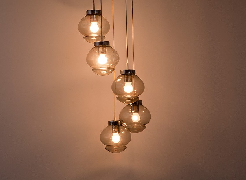 SOLD Raak Chandelier 5 Glass Balls 70s