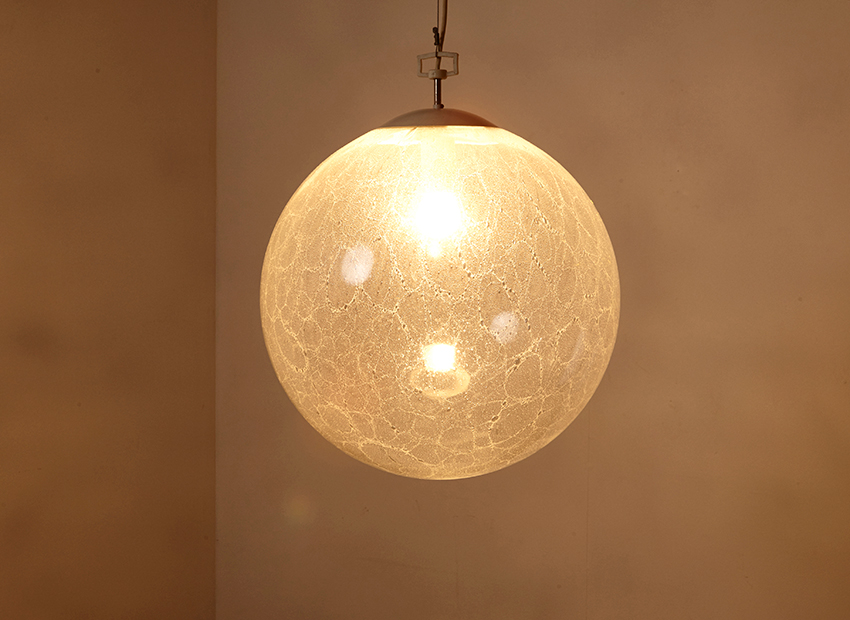 SOLD XXL Glass Globe Hanging Lamp 1960s