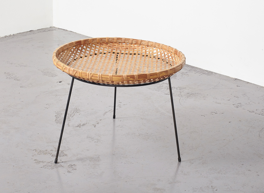 SOLD Artimeta Rattan Magazine Basket Stand Metz & Co 1950s