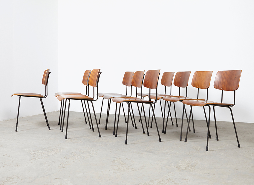 SOLD A.R.Cordemeyer Set of 10 Chairs 1262 Gispen 1959