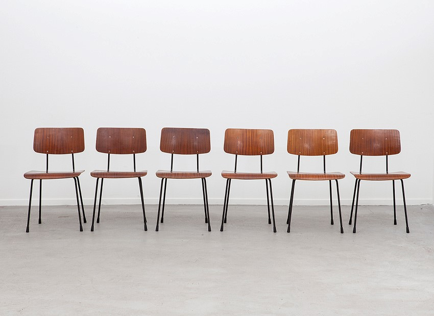 A.R. Cordemeyer 6 X Plywood Chairs Gispen 1959 1