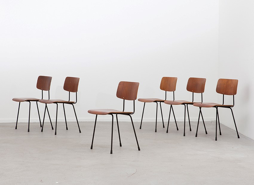 SOLD A.R. Cordemeyer 6 X Plywood Chairs Gispen 1959