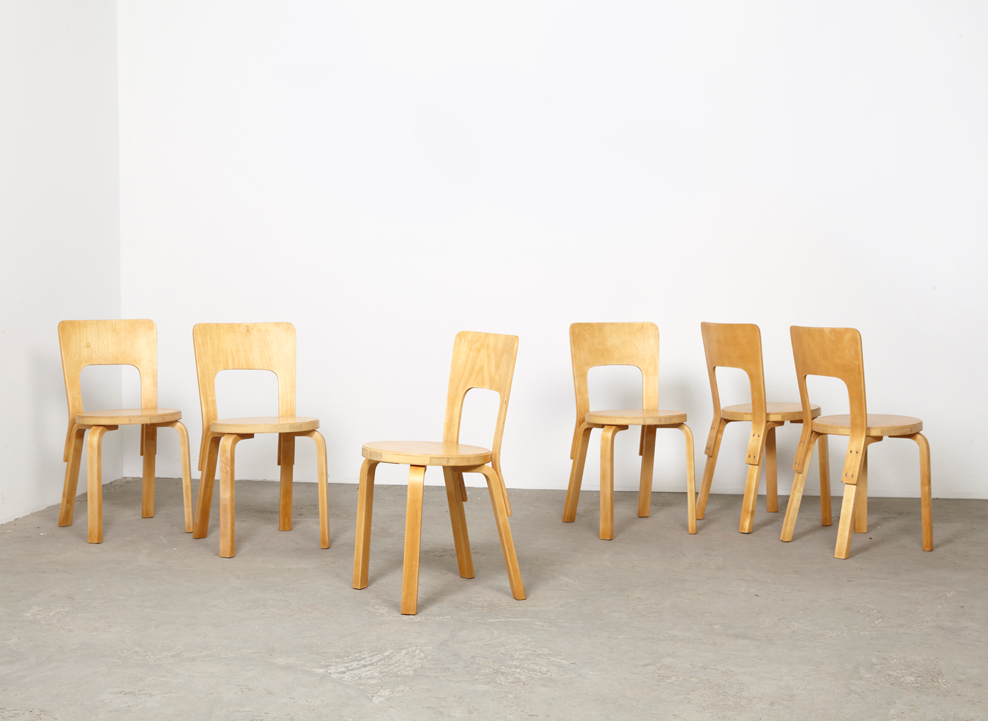 SOLD Alvar Aalto Set of 6 Dining Chairs 66 Artek 1935