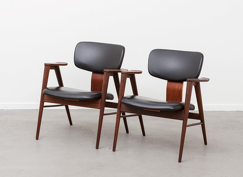 SOLD Cees Braakman 2 X Teak Easy Chairs FB14 Pastoe 1956