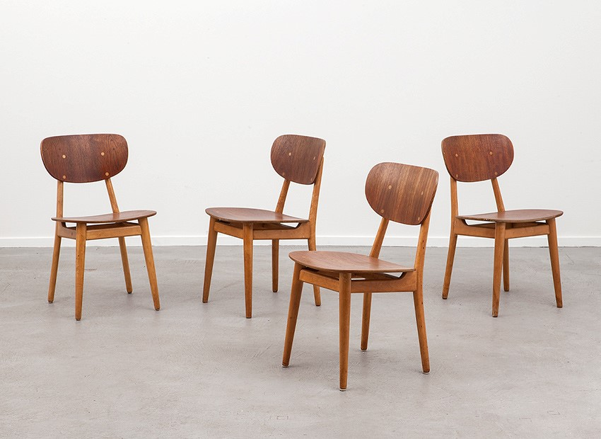 SOLD Cees Braakman 4 X Teak Birch Chairs SB13 Pastoe 50s