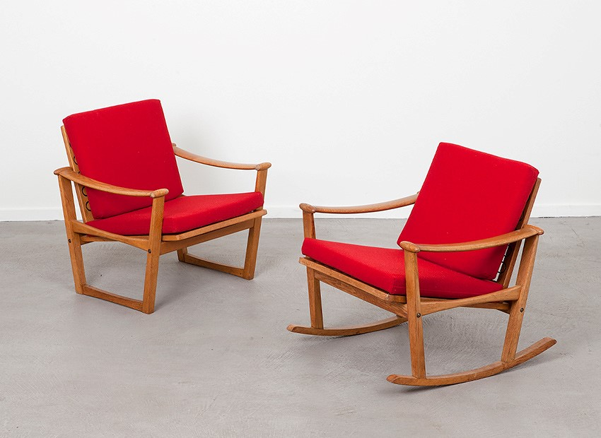 SOLD Finn Juhl Rocking Chair + Lounge Chair Pastoe 1960s