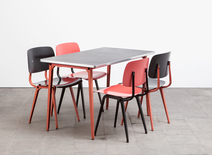 Friso Kramer Dining Set: 4 x Revolt Chairs + Reform Table Ahrend De Cirkel Dutch 1954