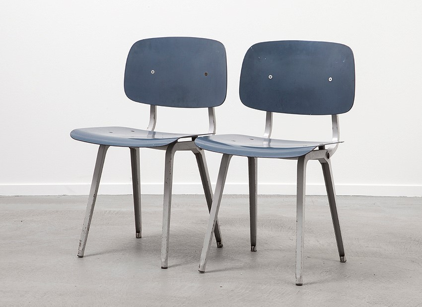 SOLD Friso Kramer Set of 2 Revolt Chairs Ahrend De Cirkel 1954