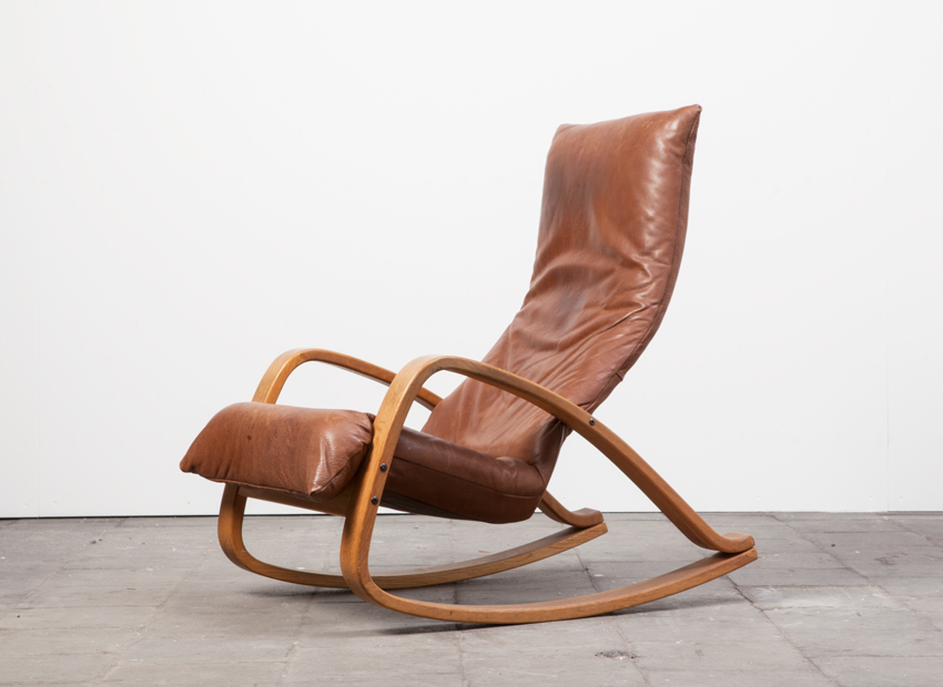 SOLD Gerard vd Berg Leather Rocker Chair Montis 70s