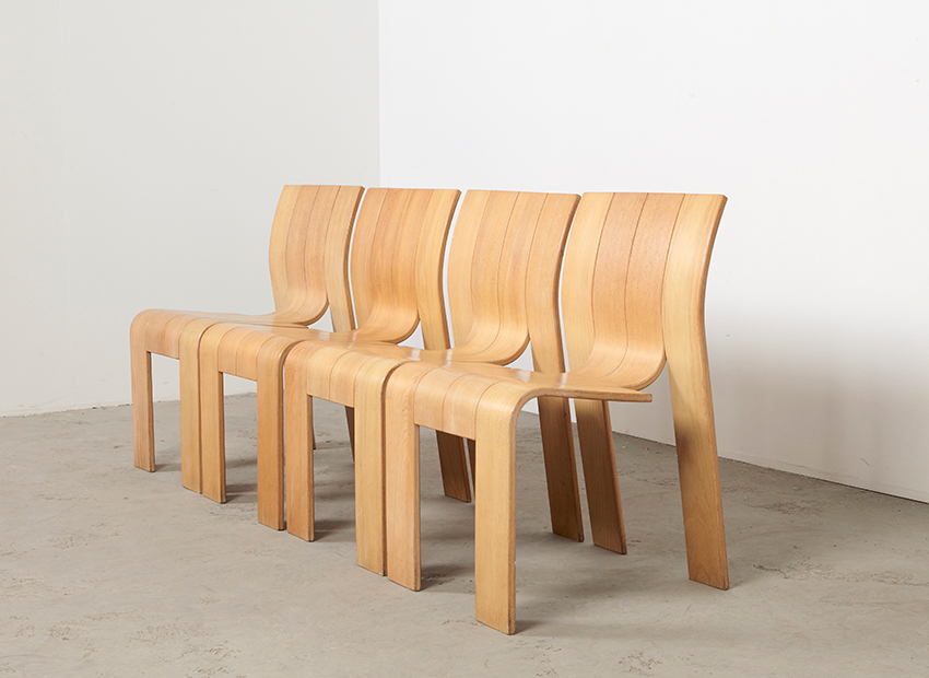 SOLD Gijs Bakker Set of 4 Strip Chairs Castelijn 1974