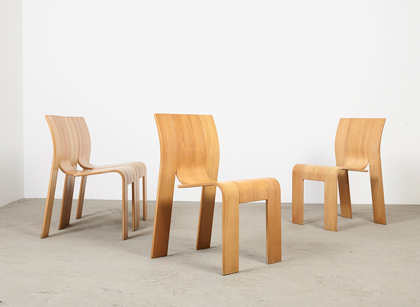 Gijs Bakker Set of 4 Strip Chairs Castelijn 1974