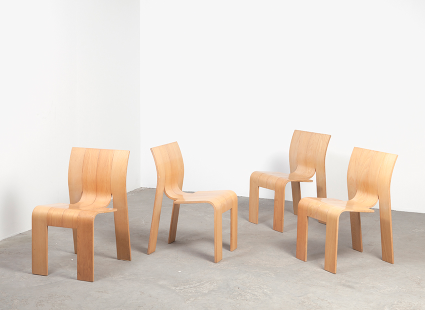 SOLD Gijs Bakker 4 x Strip Chair Castelijn 1974