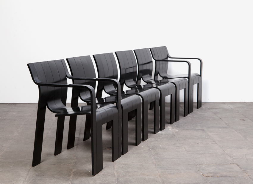 SOLD Gijs Bakker 6x Strip Chairs Castelijn Dutch 1974