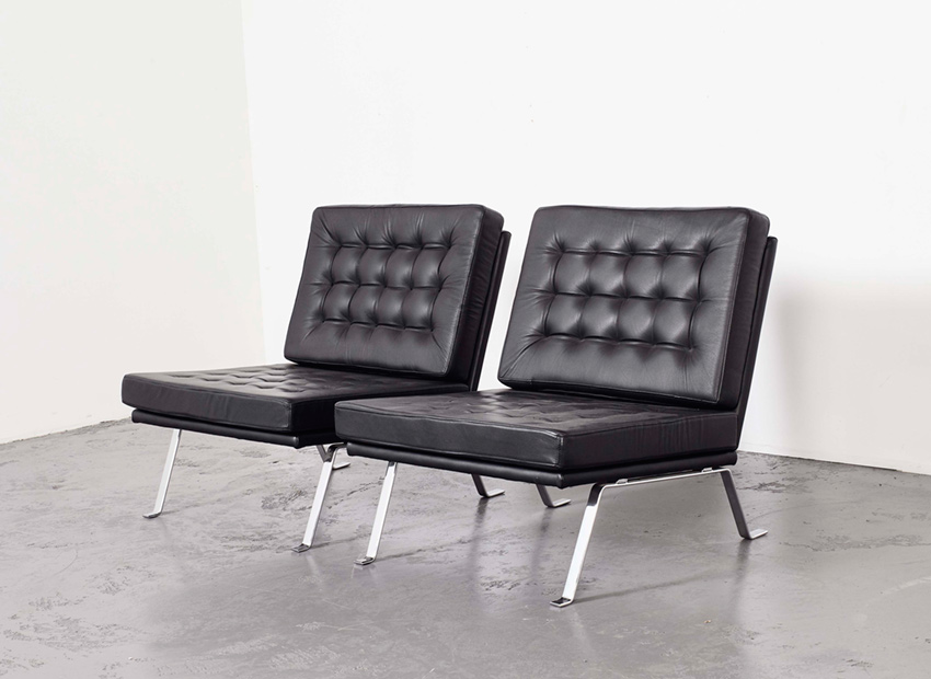 Hein Salomonson Set of 2 Leather Lounge Chairs AP Originals 1960