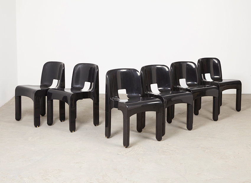 SOLD Joe Colombo Set of 6  Universale Chairs 4867 Kartell 1965