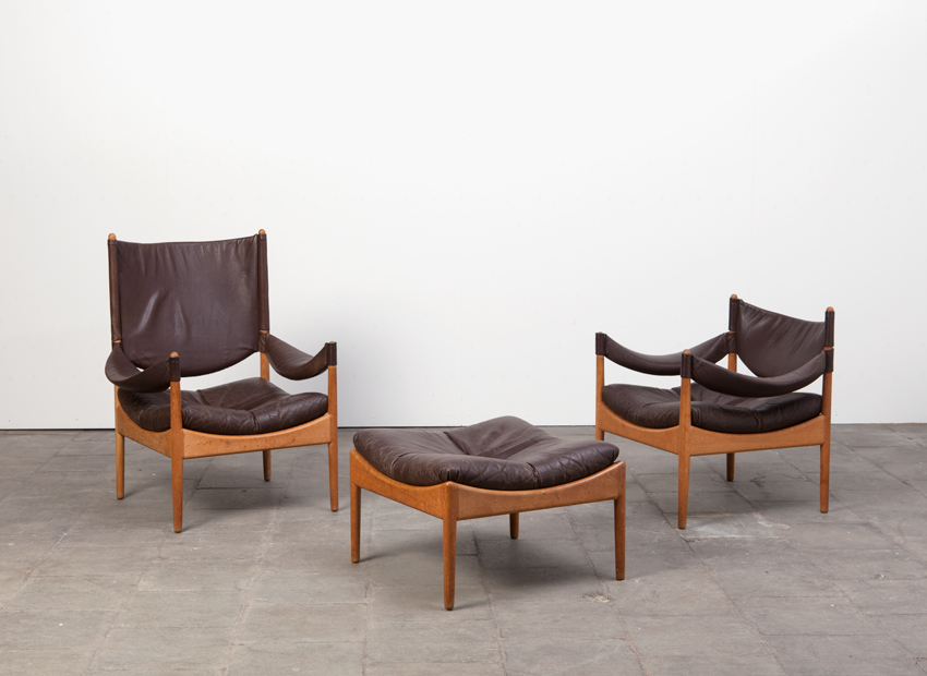 SOLD Kristian Vedel 2 x Leather Easy Chairs + Hocker Denmark 60s