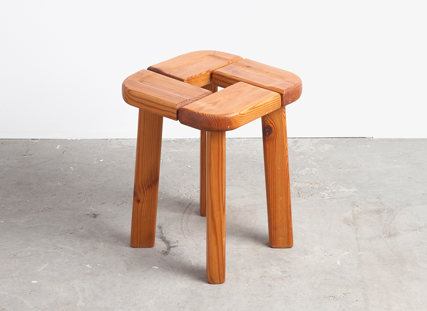 Scandinavian Pine Stool in the style of Lisa Pape Johansson 50s