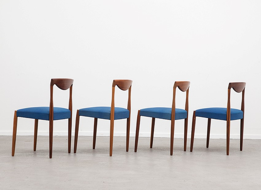 Lubke 4 X Teak Chairs 60s   4
