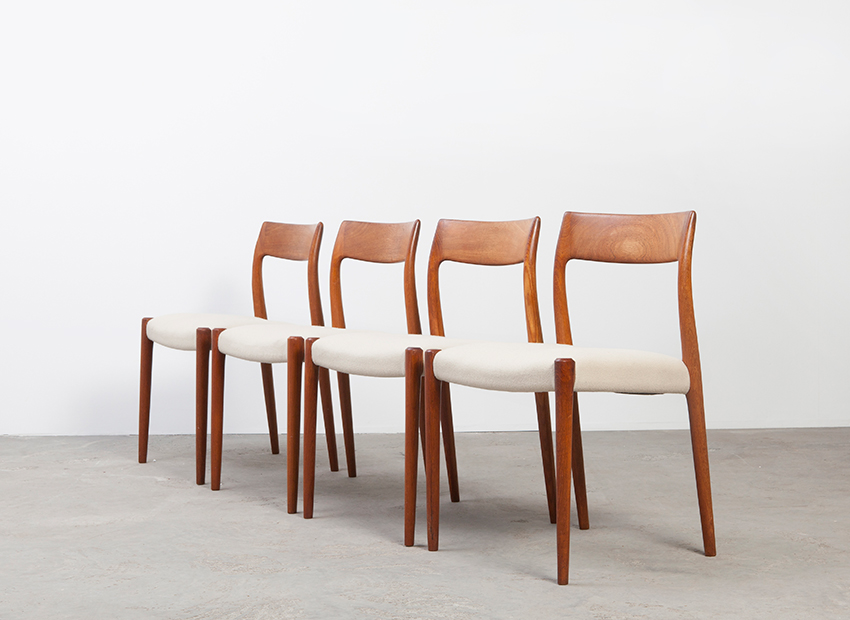 SOLD N.O.Moller Set of 4 Model 77 Chairs J.L.Mollers 1959