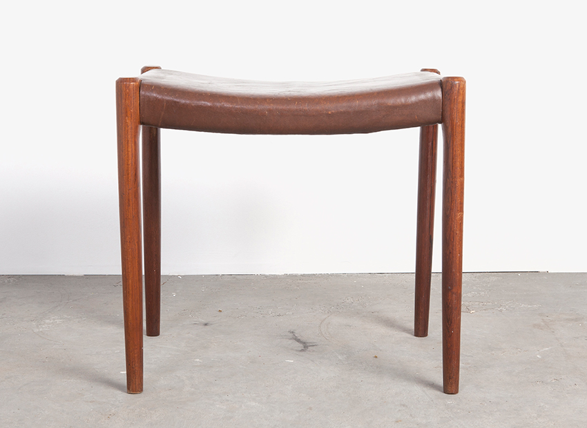 N.O. Moller Rosewood Leather Stool J.L. Mollers 60s