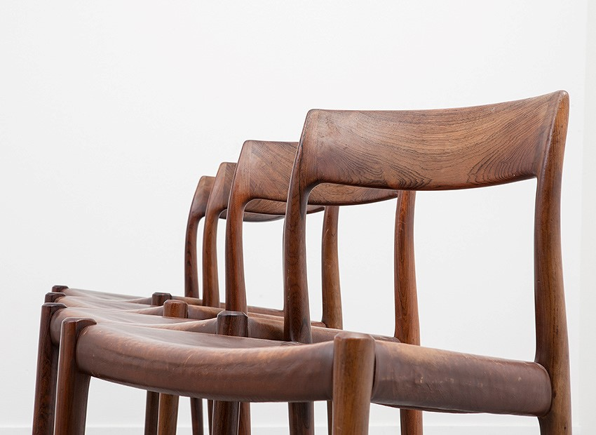 SOLD Niels O Moller Rosewood 4 X Chairs Stool Model 77 J.L. Mollers Mobelfabrik Denmark 1959
