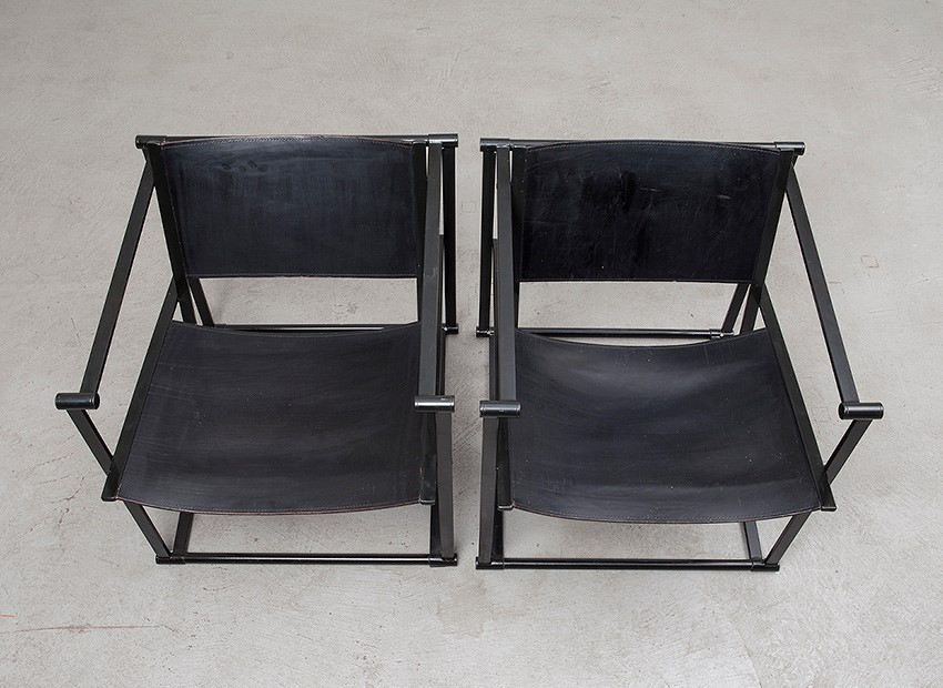 Radboud Van Beekum 2 X Leather Easy Chairs FM61 Pastoe 1980 8