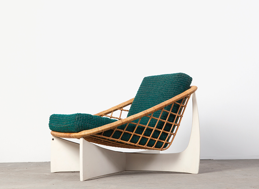 SOLD Rattan Lounge Chair 50s