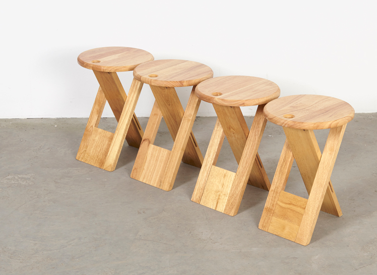 SOLD Roger Tallon Set of 4 Foldable Stools Sentou 1970