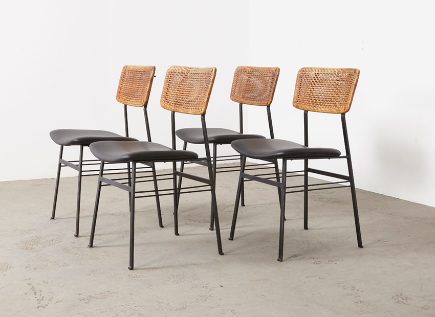 SOLD Set of 4 Dutch Modernist Rattan Metal Dining Chairs 1960s