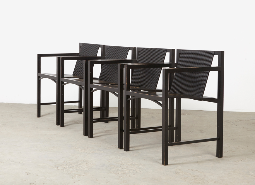 SOLD Ruud Jan Kokke Set of 4  Armchairs Metalux 1984