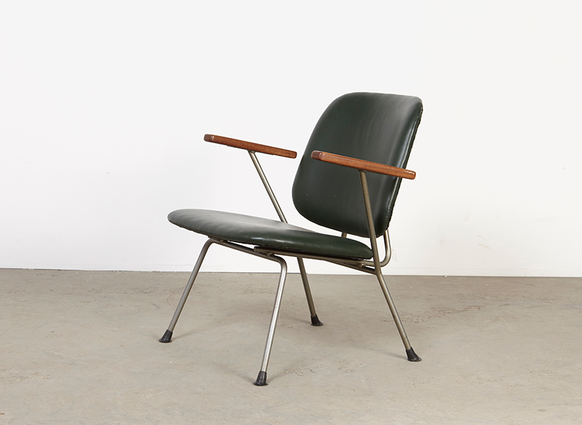 W.H. Gispen Leather Lounge Chair Kembo 1950s