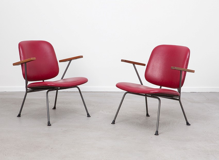 W.H. Gispen 2 X Easy Chairs Kembo 50s 1