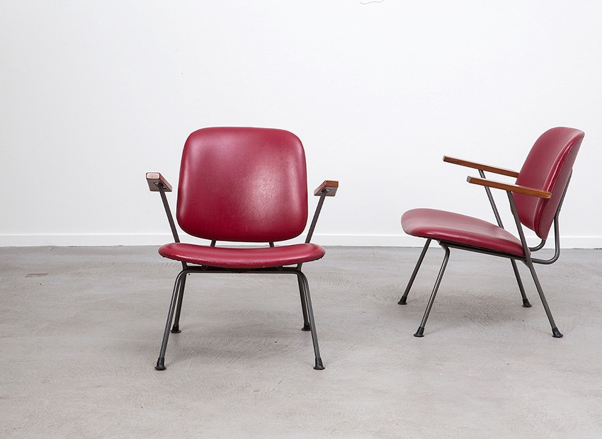 W.H. Gispen 2 X Easy Chairs Kembo 50s 2