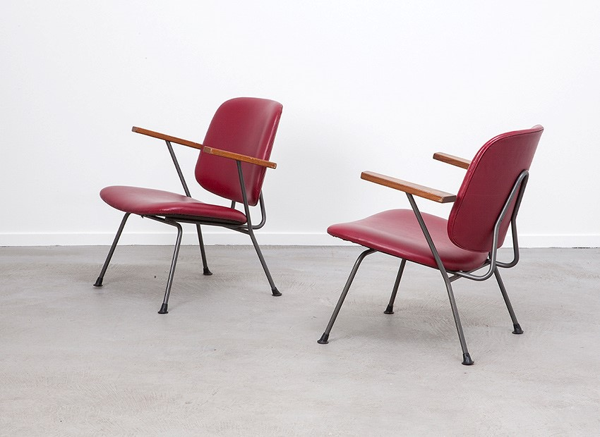 W.H. Gispen 2 X Easy Chairs Kembo 50s 3