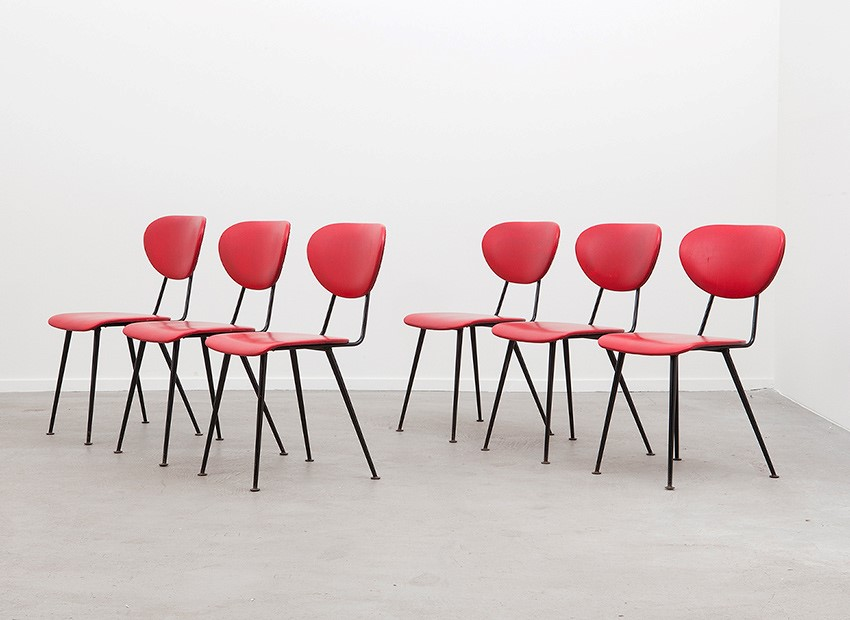 W.H. Gispen 6 X Kembo Chairs Kembo 50s 2