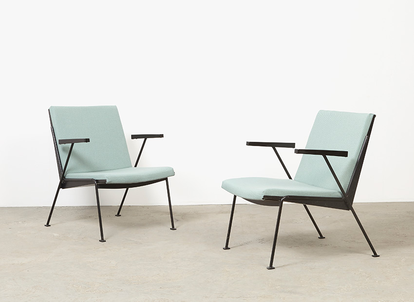 SOLD Wim Rietveld Pair of Oase Easy Chairs Ahrend de Cirkel 1958