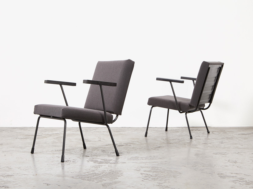 SOLD Wim Rietveld Pair of 1401 Easy Chairs Gispen 1954