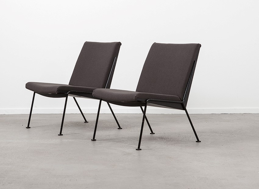 SOLD Wim Rietveld 2 X Oase Easy Chairs De Cirkel 1958