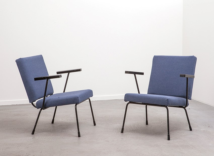 Wim Rietveld 2 X Easy Chairs 1401 Gispen 50s 1