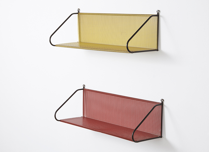 SOLD Pilastro Set of 2 Perforated Metal Bookshelves 1960s