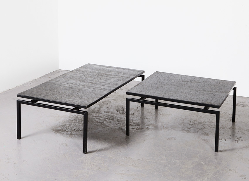 SOLD Pair of Slate Stone Coffee Tables 1960s
